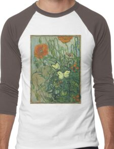 Vincent Van Gogh - Butterflies And Poppies. Still life with flowers: flowers, blossom, nature, botanical, floral flora, wonderful flower, plants, cute plant for kitchen interior, garden, vase Men's Baseball ¾ T-Shirt
