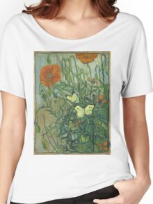 Vincent Van Gogh - Butterflies And Poppies. Still life with flowers: flowers, blossom, nature, botanical, floral flora, wonderful flower, plants, cute plant for kitchen interior, garden, vase Women's Relaxed Fit T-Shirt