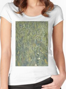 Vincent Van Gogh - Ears Of Wheat. Field landscape: field landscape, nature, village, garden, flowers, trees, sun, rustic, countryside, sky and clouds, summer Women's Fitted Scoop T-Shirt