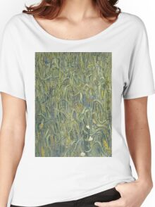 Vincent Van Gogh - Ears Of Wheat. Field landscape: field landscape, nature, village, garden, flowers, trees, sun, rustic, countryside, sky and clouds, summer Women's Relaxed Fit T-Shirt