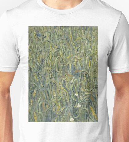 Vincent Van Gogh - Ears Of Wheat. Field landscape: field landscape, nature, village, garden, flowers, trees, sun, rustic, countryside, sky and clouds, summer Unisex T-Shirt