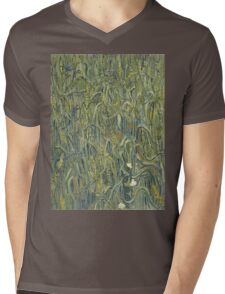 Vincent Van Gogh - Ears Of Wheat. Field landscape: field landscape, nature, village, garden, flowers, trees, sun, rustic, countryside, sky and clouds, summer Mens V-Neck T-Shirt