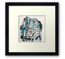Wonky Town Watercolor Framed Print