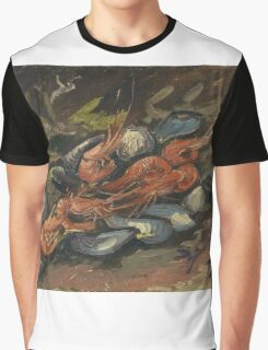 Vincent Van Gogh - Prawns And Mussels. Still life with prawns and mussels: prawns , mussels, grapes, tasty, gastronomy food, flowers, dish, cooking, kitchen, vase Graphic T-Shirt