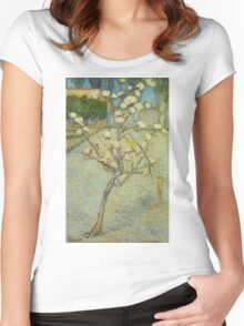 Vincent Van Gogh - Small Pear Tree In Blossom. Still life with flowers: flowers, blossom, nature, botanical, floral flora, wonderful flower, plants, cute plant for kitchen interior, garden, vase Women's Fitted Scoop T-Shirt