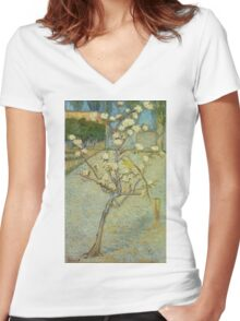 Vincent Van Gogh - Small Pear Tree In Blossom. Still life with flowers: flowers, blossom, nature, botanical, floral flora, wonderful flower, plants, cute plant for kitchen interior, garden, vase Women's Fitted V-Neck T-Shirt