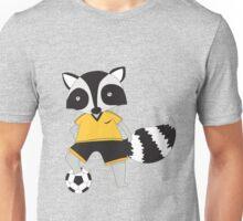 Cartoon Animals Sports Raccoon Playing Soccer  Unisex T-Shirt