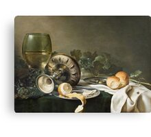 Willem Claesz Heda - Still-Life . Still life with fruits and vegetables: fruit, vegetable, glass of wine, tasty, gastronomy food, flowers, dish, cooking, kitchen, vase Canvas Print