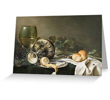 Willem Claesz Heda - Still-Life . Still life with fruits and vegetables: fruit, vegetable, glass of wine, tasty, gastronomy food, flowers, dish, cooking, kitchen, vase Greeting Card
