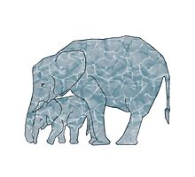 Water-Marble Elephant Photographic Print