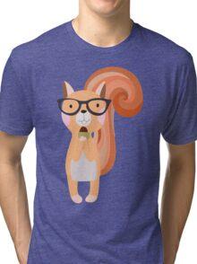 Funny Cartoon Animals Squirrel With Acorn Tri-blend T-Shirt