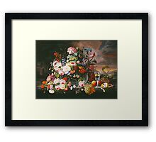 Severin Roesen - Still Life Of Flowers And Fruit With A River Landscape In The Distance. Still life with flowers: bouquet, bumblebee , carnations, peonies, roses, tulips, marigolds, garden, blossom Framed Print