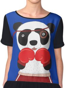 Cartoon Animals Fighting Boxing Panda Bear Chiffon Top
