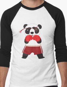 Cartoon Animals Fighting Boxing Panda Bear Men's Baseball ¾ T-Shirt