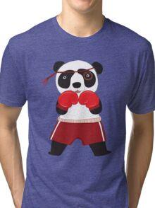 Cartoon Animals Fighting Boxing Panda Bear Tri-blend T-Shirt
