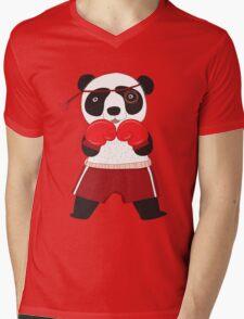 Cartoon Animals Fighting Boxing Panda Bear Mens V-Neck T-Shirt