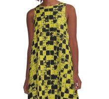 Grunge Yellow and Black Bricks Pattern A-Line Dress