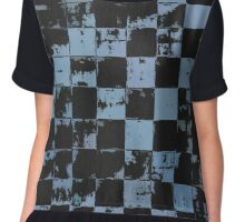 Blue and Black Bricks Pattern Chiffon Top
