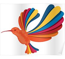 Cute and Beautiful Rainbow hummingbird Poster