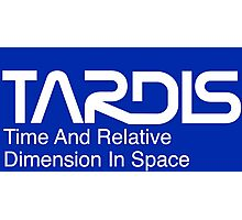 NASA Worm Logo TARDIS (White) Photographic Print