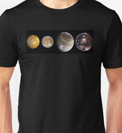 The four largest moons of Jupiter, Galilean Satellites, space Unisex T-Shirt