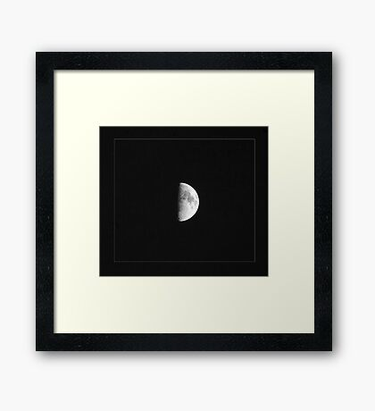 Half Moon in black and white Framed Print