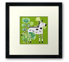Animals Cartoon Zebra in Jungle Framed Print