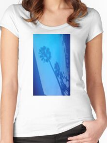 PALM TREE BLUE REFLECTIONS Women's Fitted Scoop T-Shirt