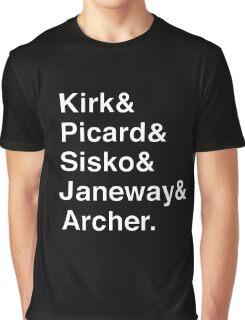 Star Trek Captains Helvetica Name List Graphic T-Shirt