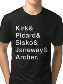 Star Trek Captains Helvetica Name List Tri-blend T-Shirt