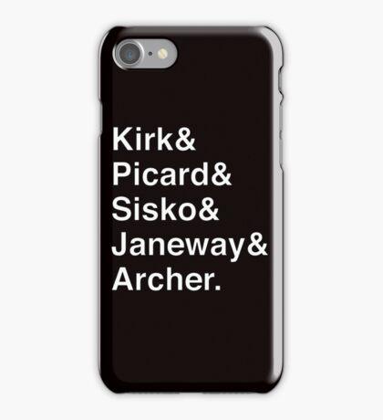 Star Trek Captains Helvetica Name List iPhone Case/Skin