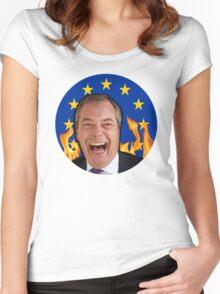 Nigel Farage - EU Badge Women's Fitted Scoop T-Shirt