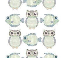 Owls & Fish by Jean Gregory  Evans