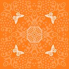 Orange Butterfly Medallion by 2HivelysArt