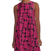 Abstract pattern 041113 - Neon Red on Black A-Line Dress