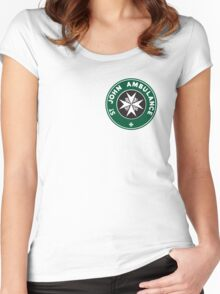 TARDIS St. John Ambulance Starbucks Logo Women's Fitted Scoop T-Shirt
