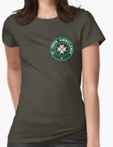 TARDIS St. John Ambulance Starbucks Logo Womens Fitted T-Shirt