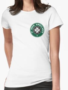 TARDIS St. John Ambulance Starbucks Logo Womens Fitted T-Shirt