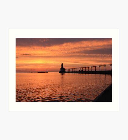 Light house sunset Art Print