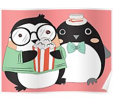 Funny Cartoon Animals Penguins and Popcorn Poster