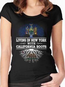 California - Living In New York With California Roots Women's Fitted Scoop T-Shirt