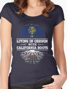 California - Living In Oregon With California Roots Women's Fitted Scoop T-Shirt