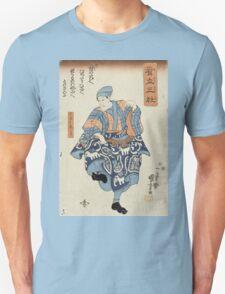 Utagawa Kuniyoshi - Actor Portraying A Seller Of Birds For Release 1850. Man portrait:  actor ,  mask,  face,  man ,  samurai ,  hero,  costume,  kimono,  tattoos,  theater,  shows Unisex T-Shirt