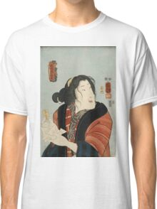 Utagawa Kuniyoshi - Bando Shuka As Hashimotoya Shiraito1852. Woman portrait: sensual woman, geisha, kimono, courtesan, silk, beautiful dress, umbrella, wig, lady, exotic, beauty Classic T-Shirt