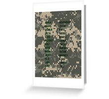 Military Alphabet Greeting Card