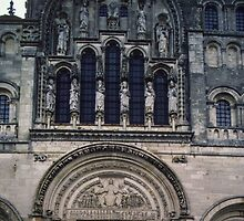 North Cathedral Door by Rene Martin 1763 Vezelay France 198405050037 by Fred Mitchell