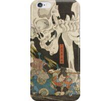 Utagawa Kuniyoshi - Mitsukuni And The Skeleton Spectermid 1840. Man portrait:  mask,  face,  man ,  samurai ,  hero,  costume,  kimono,  tattoos ,  sport, skeleton, macho iPhone Case/Skin