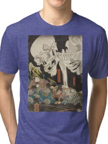 Utagawa Kuniyoshi - Mitsukuni And The Skeleton Spectermid 1840. Man portrait:  mask,  face,  man ,  samurai ,  hero,  costume,  kimono,  tattoos ,  sport, skeleton, macho Tri-blend T-Shirt