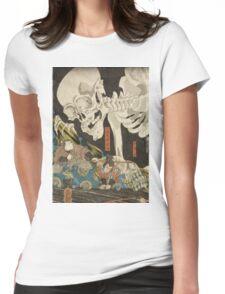 Utagawa Kuniyoshi - Mitsukuni And The Skeleton Spectermid 1840. Man portrait:  mask,  face,  man ,  samurai ,  hero,  costume,  kimono,  tattoos ,  sport, skeleton, macho Womens Fitted T-Shirt