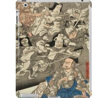 Utagawa Kuniyoshi - Warrior Minamoto Raiko And The Earth Spider. People portrait: party, woman and man, people, family, female and male, peasants, crowd, romance, women and men, city,  society iPad Case/Skin